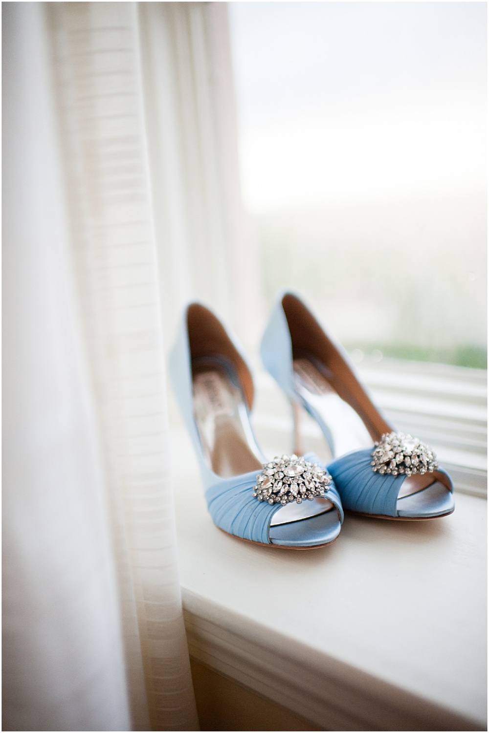 blue badgley mischka heels on the window sil at the biltmore hotel