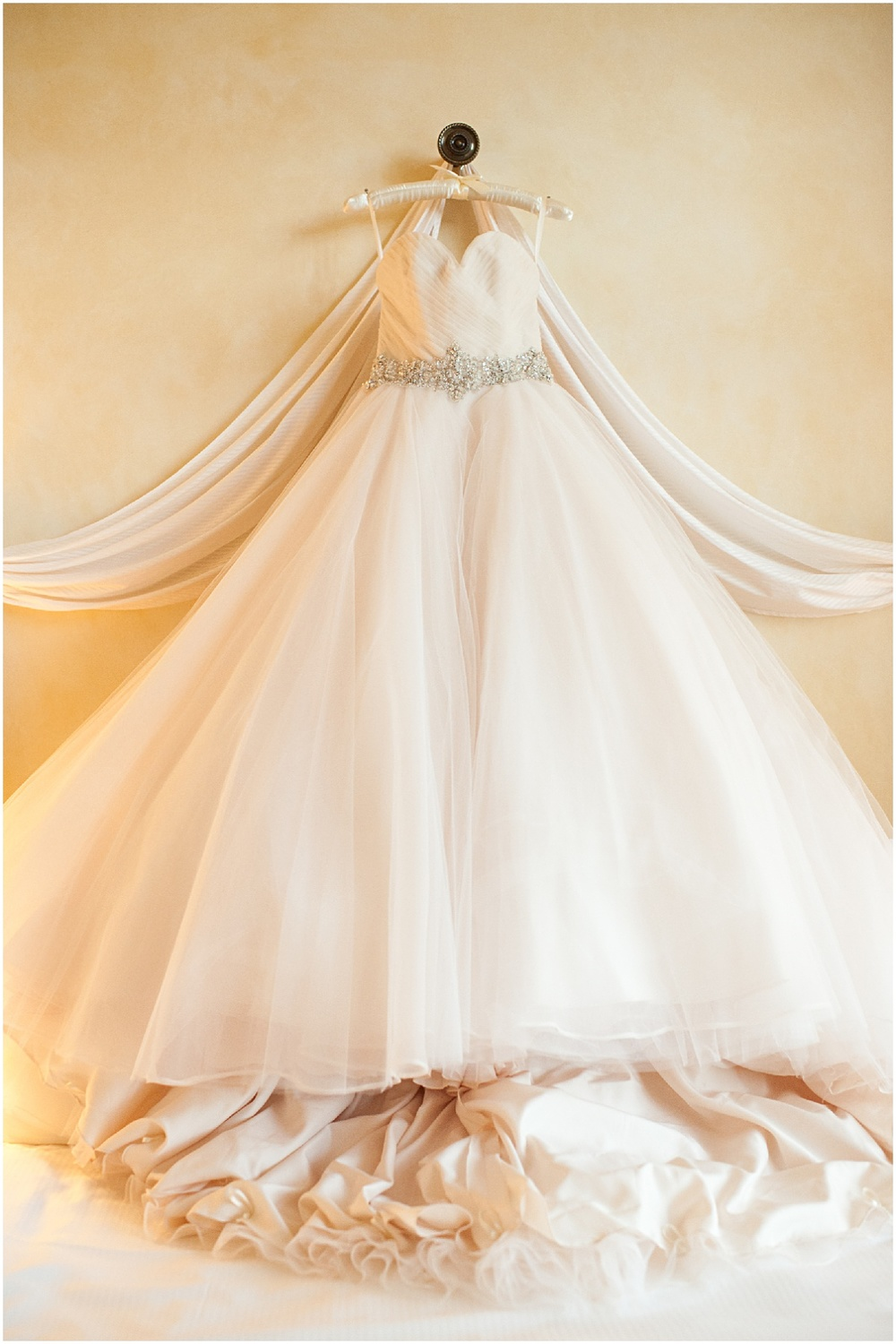 white ballgown wedding dress hung at the biltmore hotel