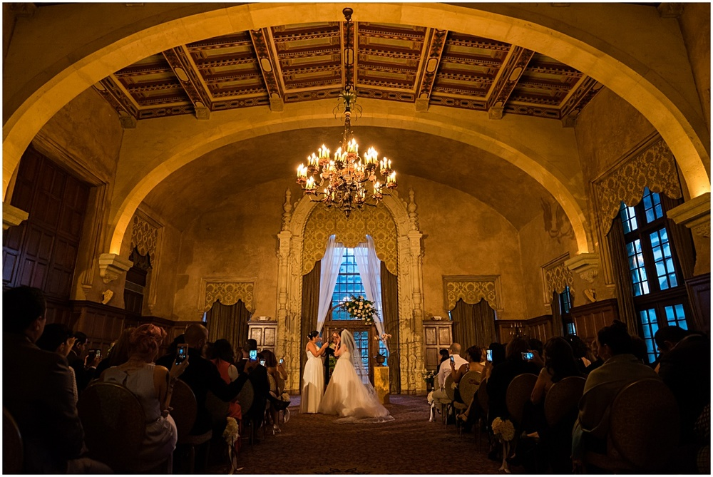 wide shot of the same sex ceremony at the biltmore hotel