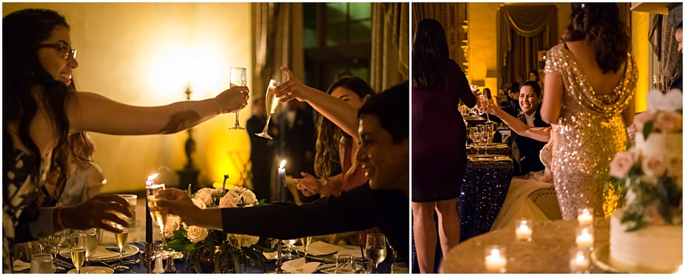 toasting champagne at a biltmore hotel wedding