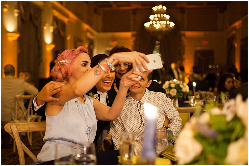 guest mingle at biltmore hotel wedding reception