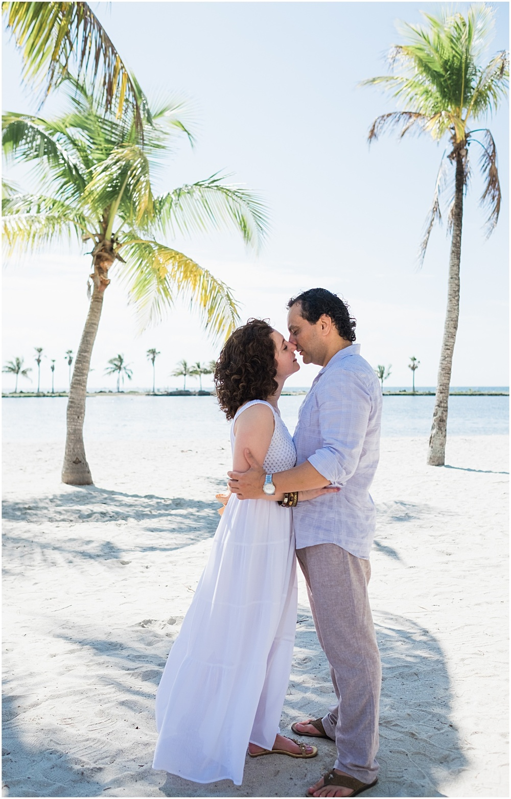Engagement portrait session by palms in coral gables