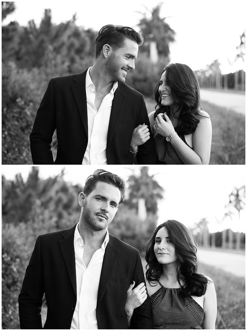 black and white Couples portrait session in Redland Florida