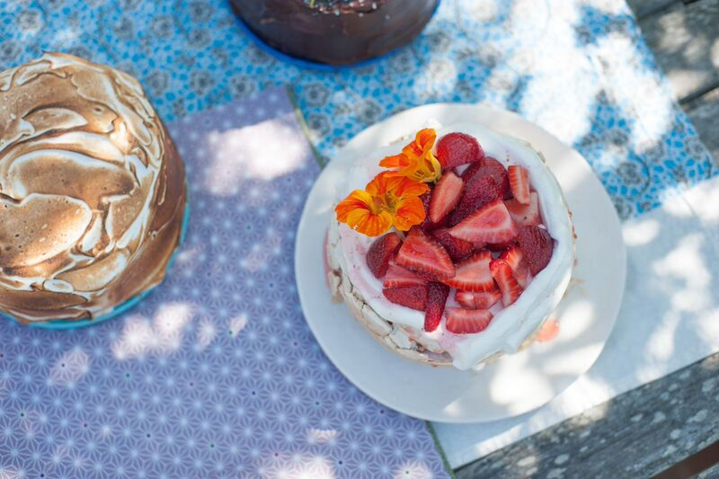 Meyer Lemon Meringue Cake + Strawberry Elderflower Pavlova