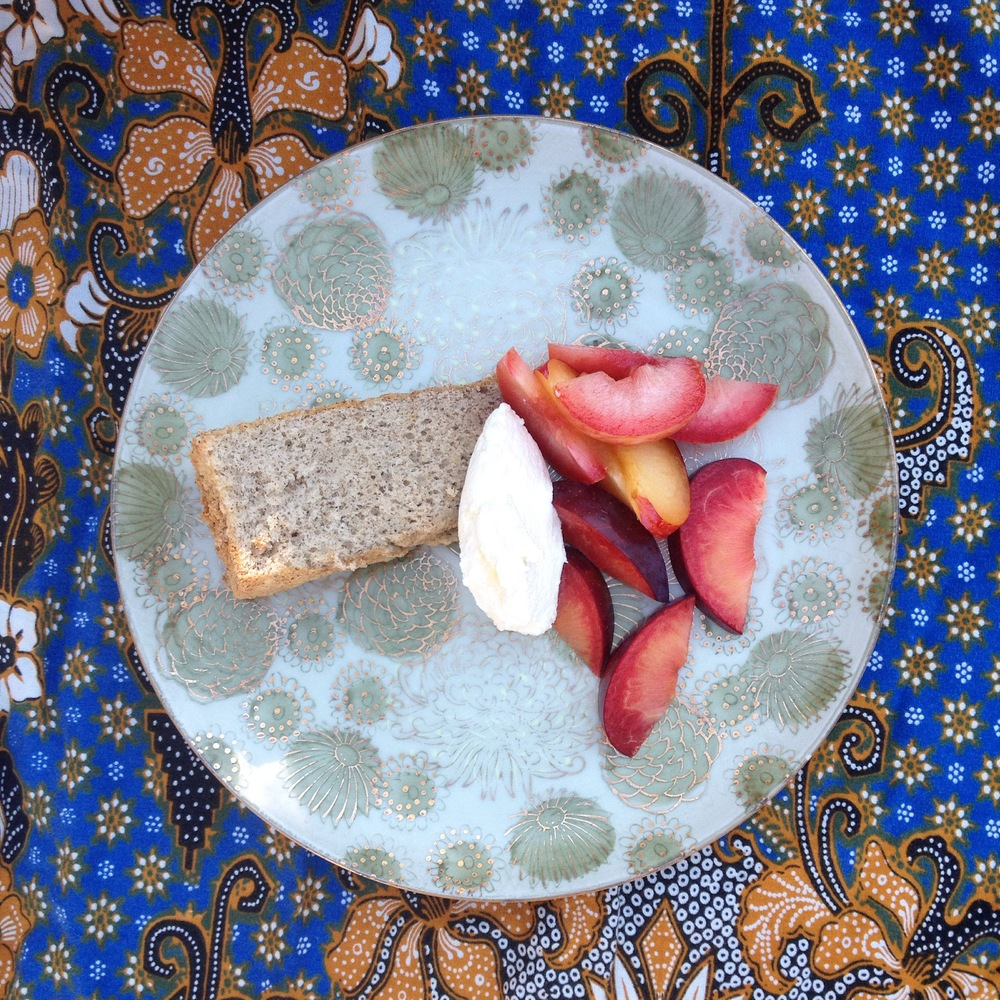 buckwheat chiffon cake/pluots/honey whip cream