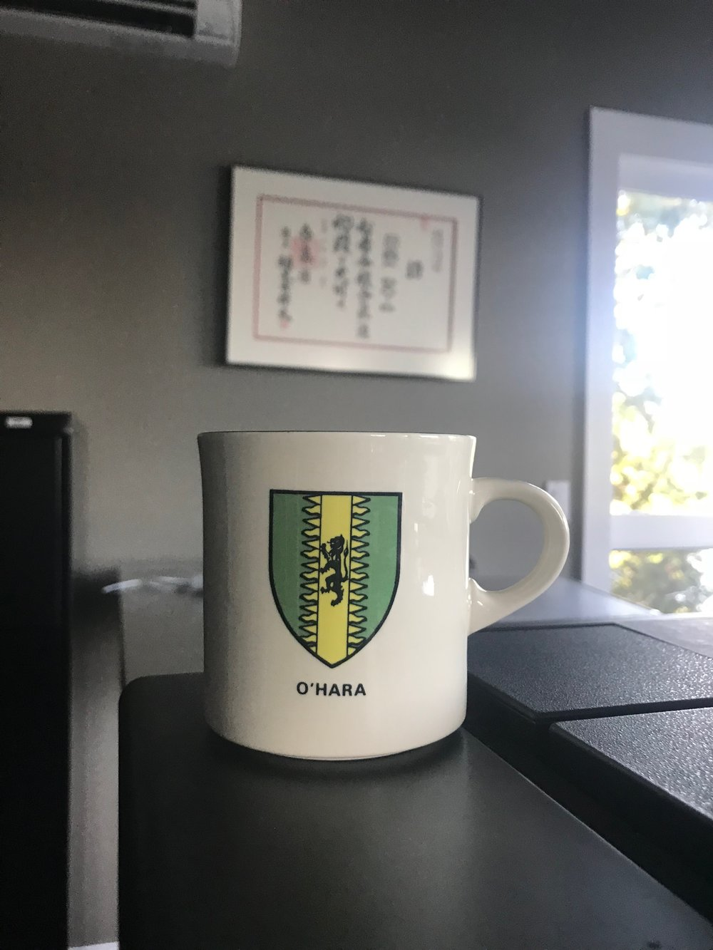 Here is the O'Hara family crest on a coffee mug in my office.