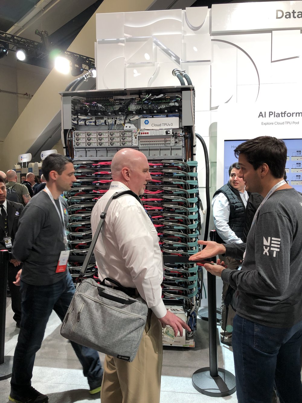 Here is one of the Cloud TPUv3 racks shown at the conference.