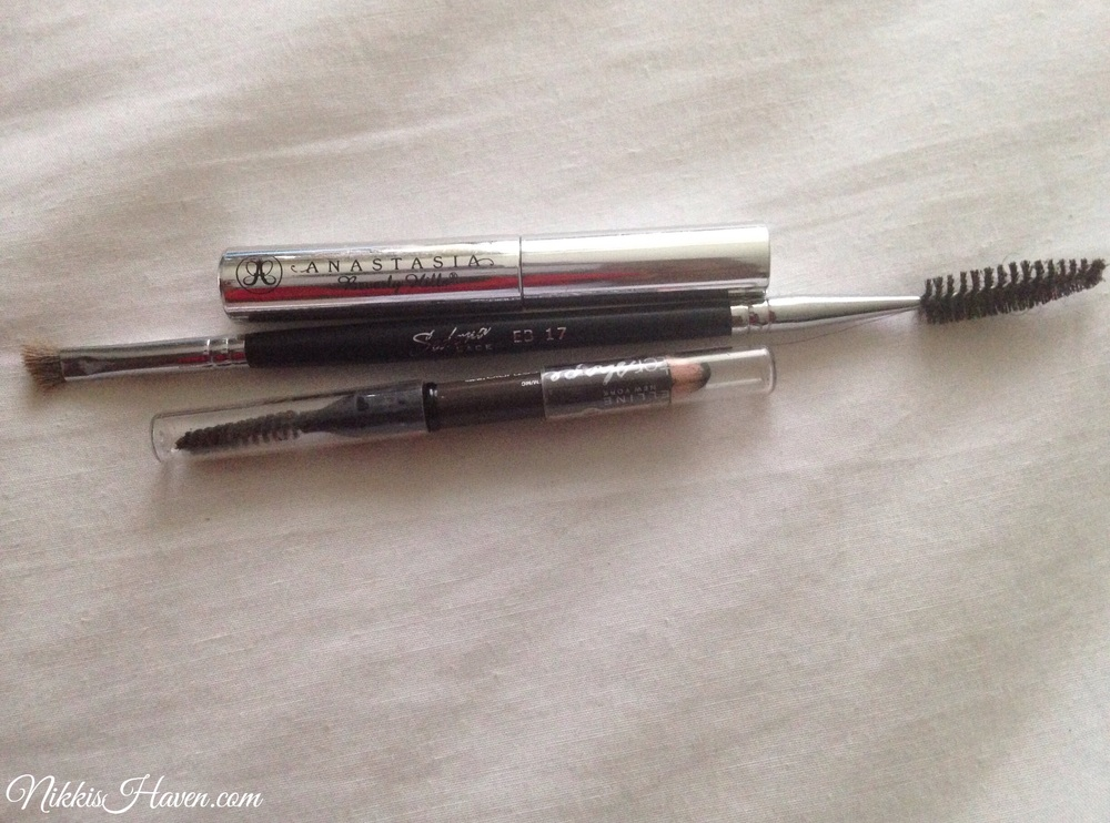 Anastasia clear brow gel, Sedona lace eb 17, & Maybelline eyeshape Brow pencil. Not pictured: tweezerman tweezers