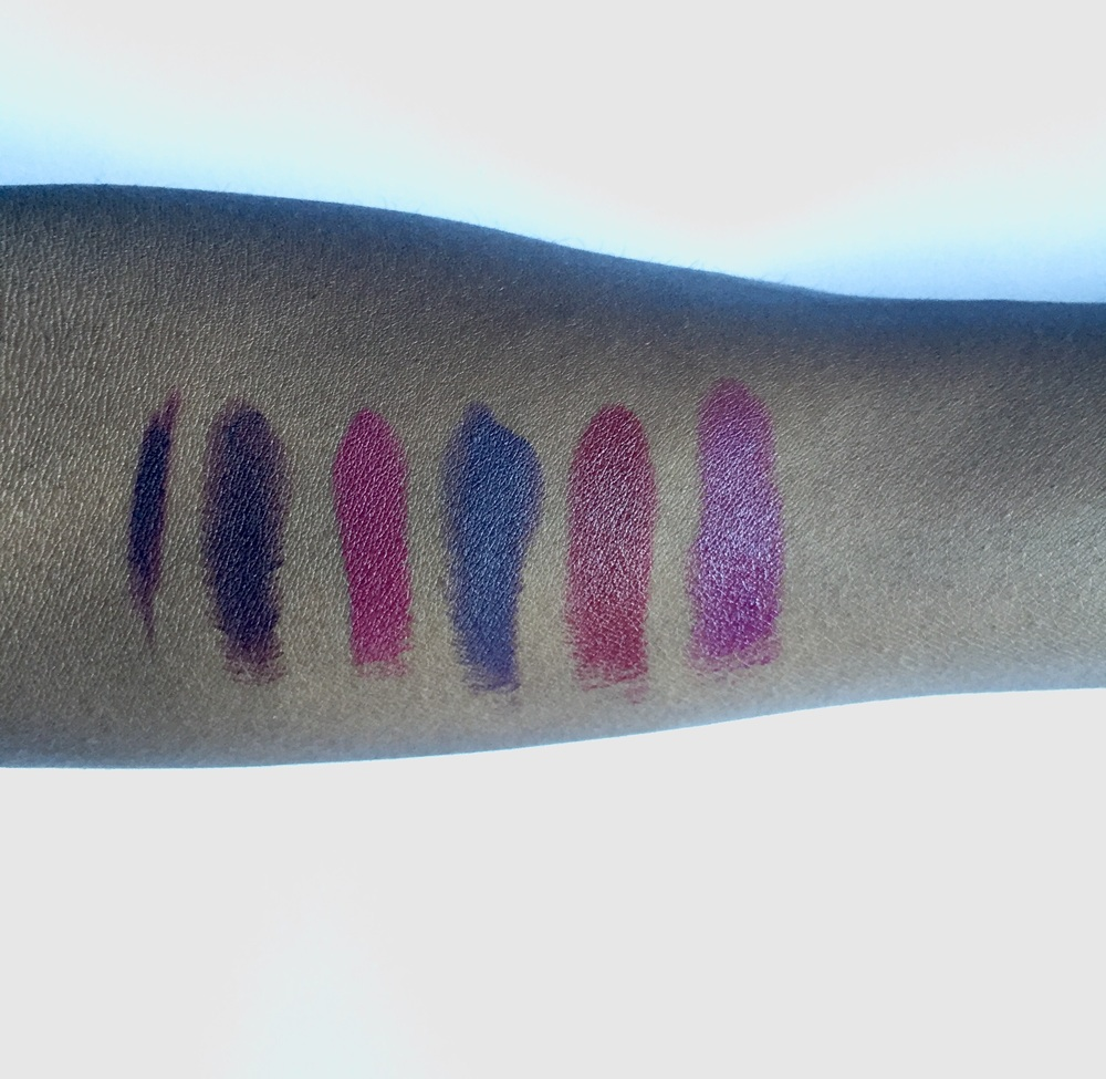 L to R: OCC Lip Pencil Dahlia, Kat Von D Homegirl, M.A.C D For Danger, M.A.C Smoked Purple, NARS Audacious Charlotte, M.A.C. Rebel