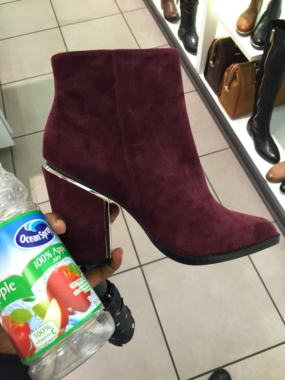 finding new boots for the season. Apple juice is always a favorite :)