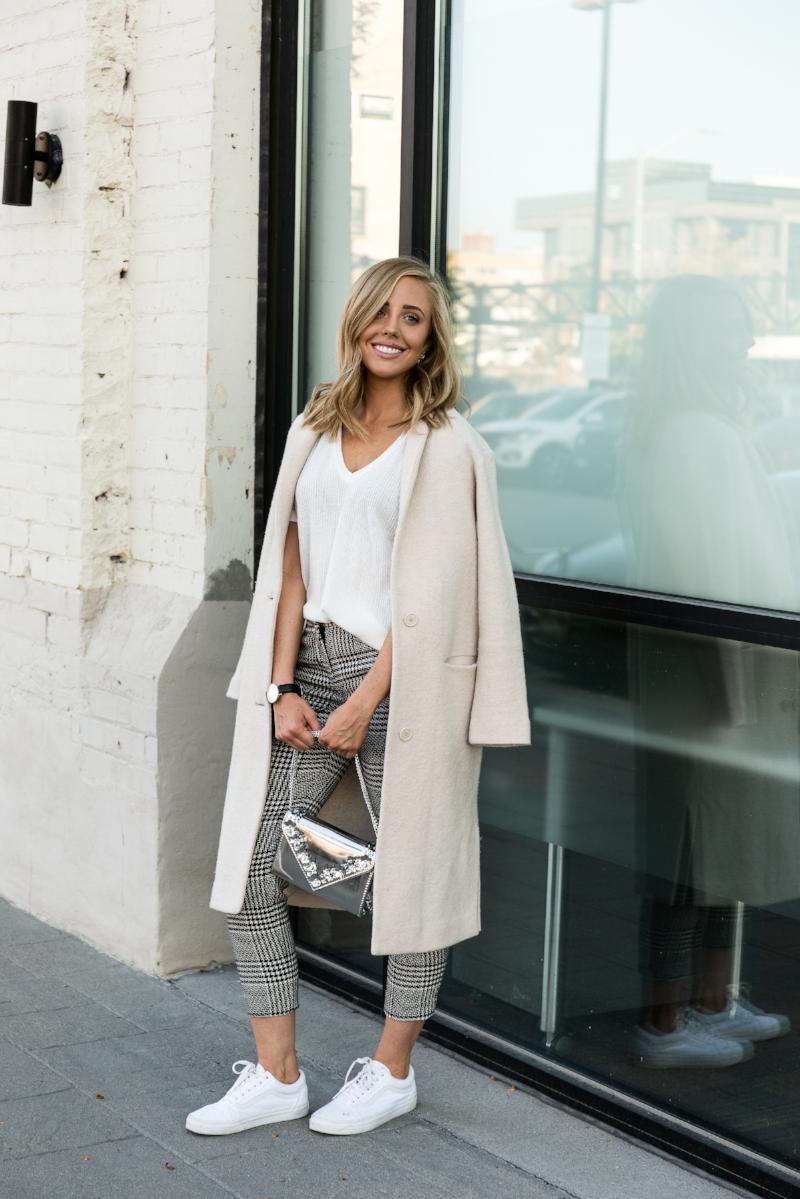 Personally Paige - Wool Coat, Houndstooth Pants & Vans