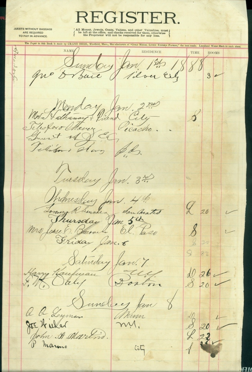 Amador Desk Register, January 1888