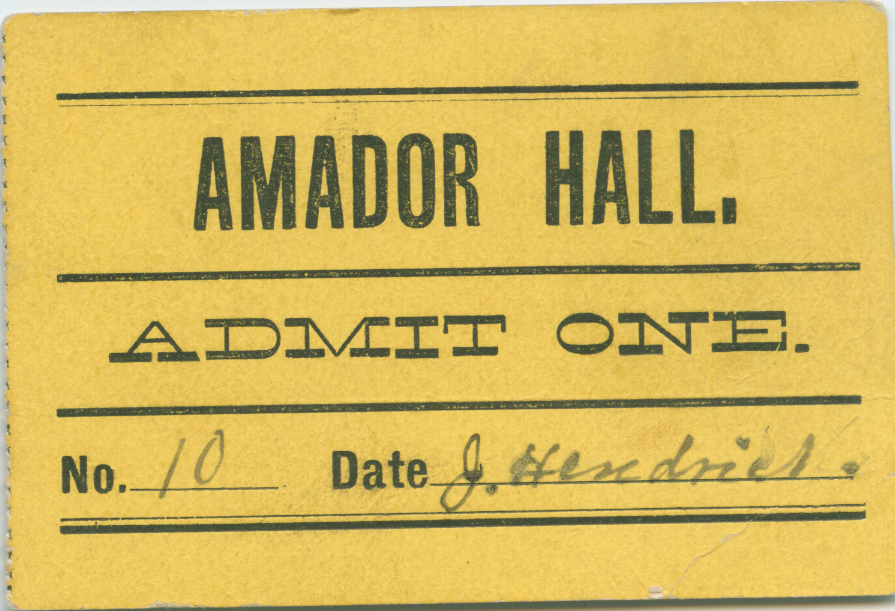 Admission Ticket to Entertainment Hall, circa 1885-1905