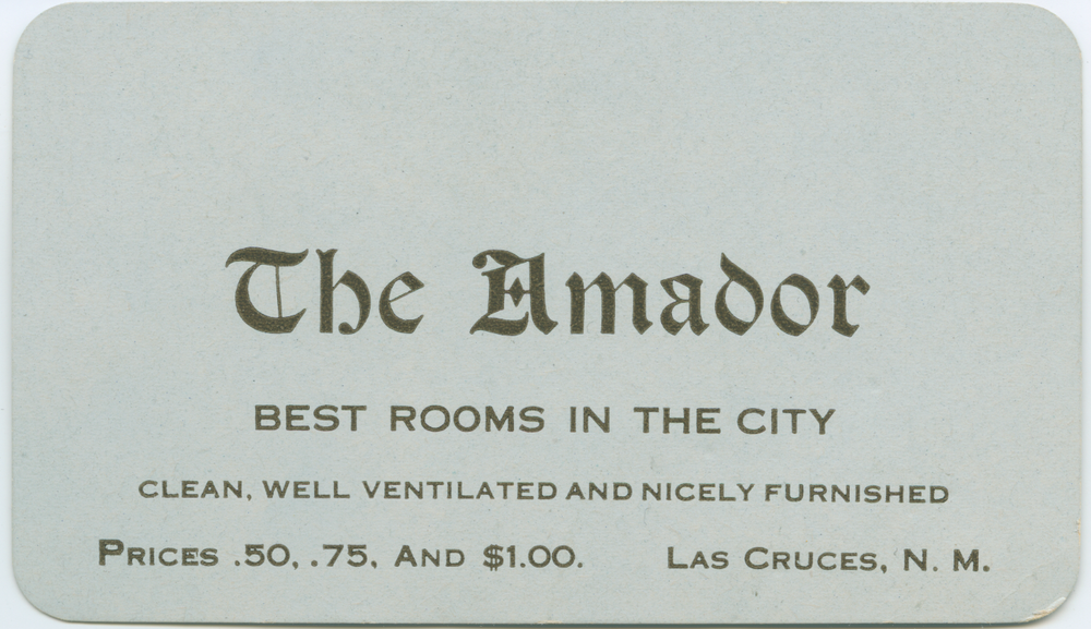 Amador Hotel Business Card, 1920s