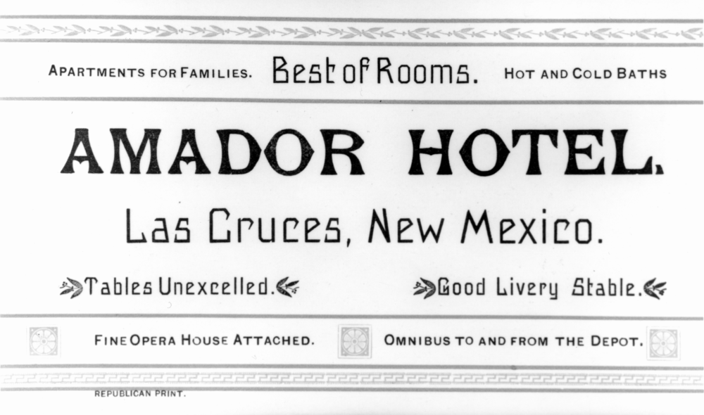 Amador Hotel Business Card, circa 1890-1900