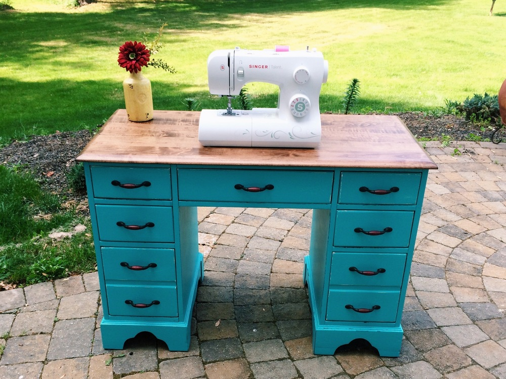 DIY Refinished Craft Room Desk