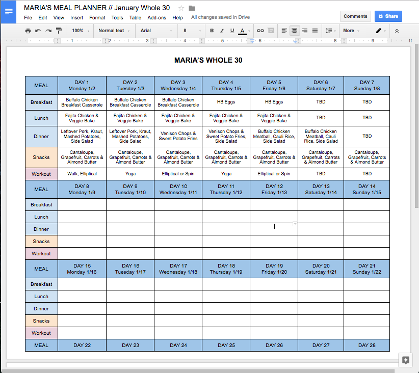 Meal Planning Template Google Docs