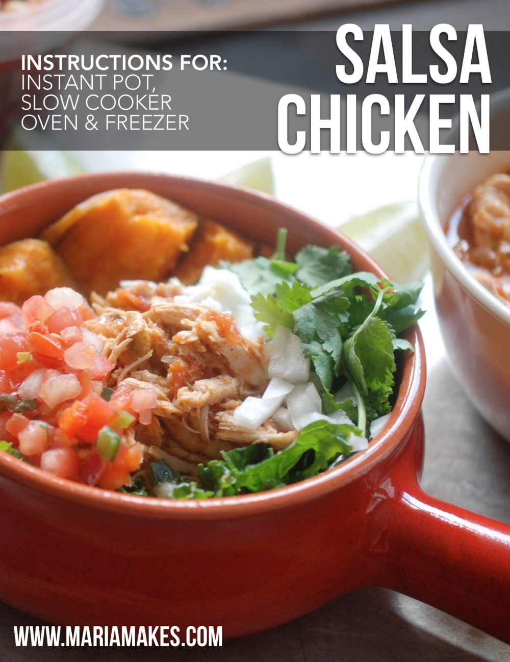 Salsa Chicken – Maria Makes: With instructions for Instant Pot, Slow Cooker, Oven, and Freezer Cooking! #Whole30 and #Paleo