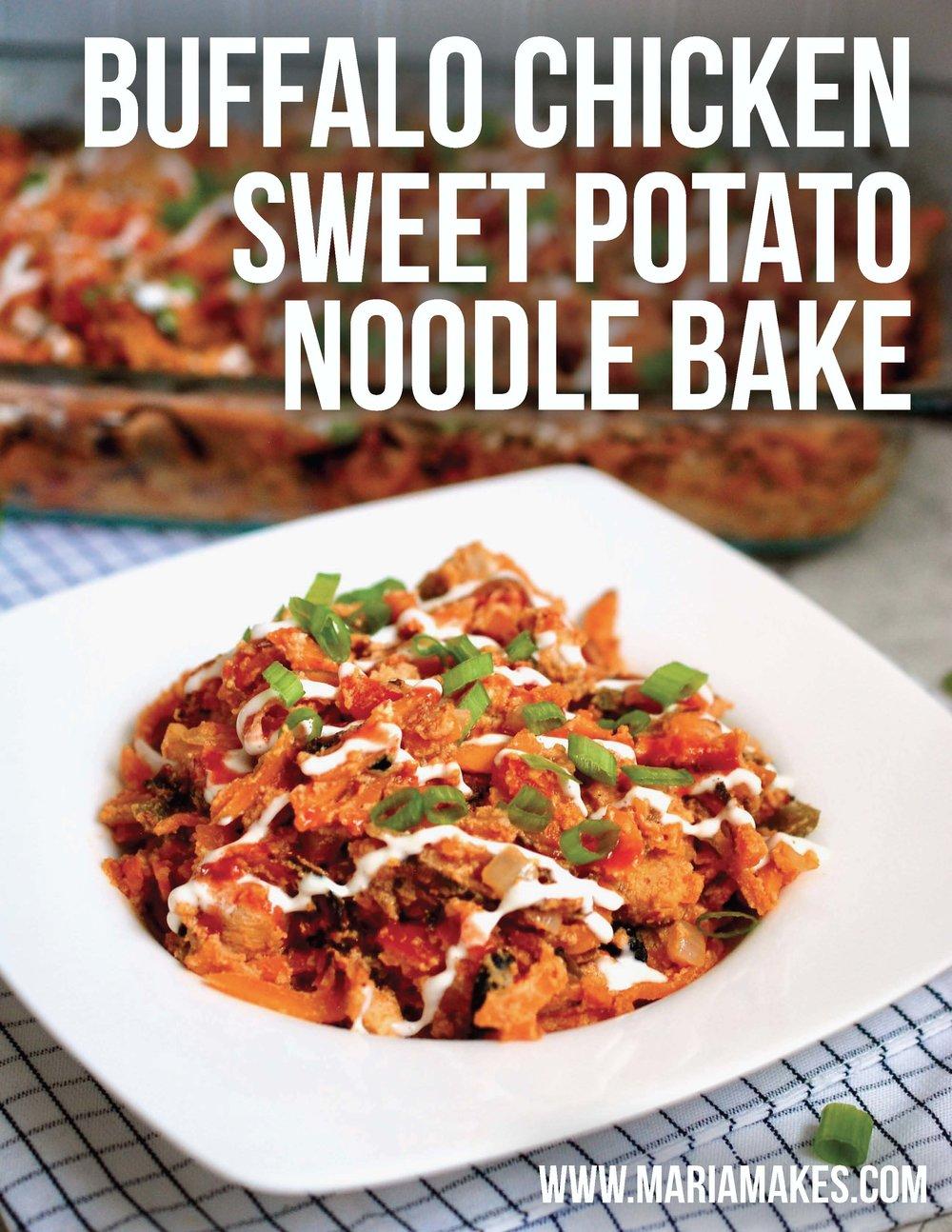 "Buffalo Chicken Sweet Potato Noodle Bake – Beloved buffalo chicken and ranch team up with sweet potatoes in this super satisfying, creamy ""pasta"" bake. #whole30 #paleo"