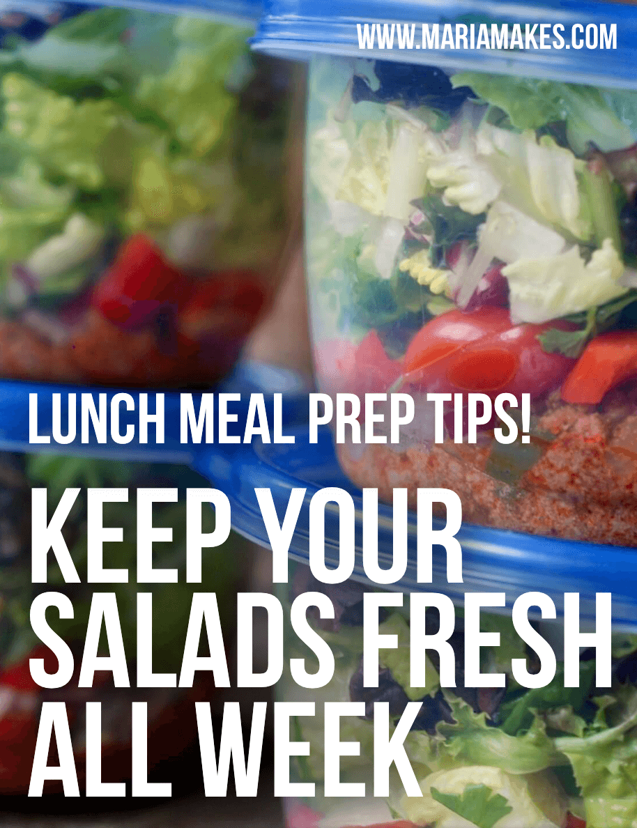 Maria Makes — Looking for lunch meal prep ideas? I've compiled my best salad recipes and tips for keeping them fresh all week! Prep lunch once, enjoy grab-and-go lunches for days.