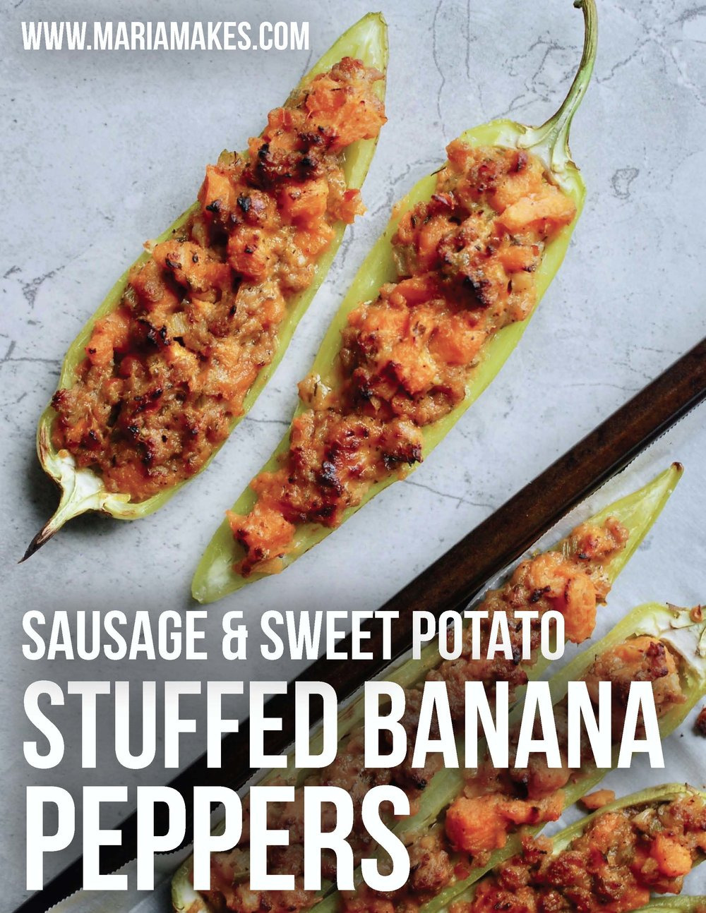 Sausage & Sweet Potato Stuffed Banana Peppers – Maria Makes: Twist on a family classic, using sweet potatoes to replace the Stove Top Stuffing! Spicy, hearty, delicious!