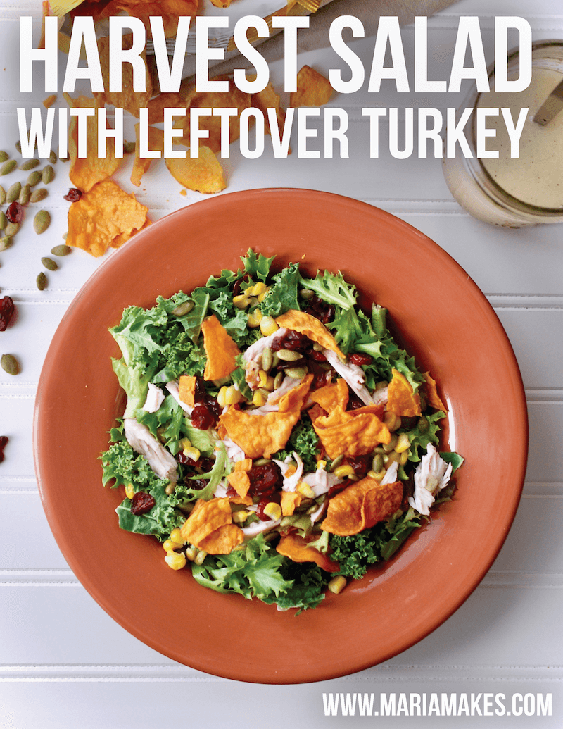 Harvest Salad with Leftover Turkey – Maria Makes: This salad is the perfect combo of savory and sweet, fantastic textures and Fall flavors! Not to mention, its the perfect lighter way to use up those Thanksgiving leftovers (looking at you, turkey and corn!).