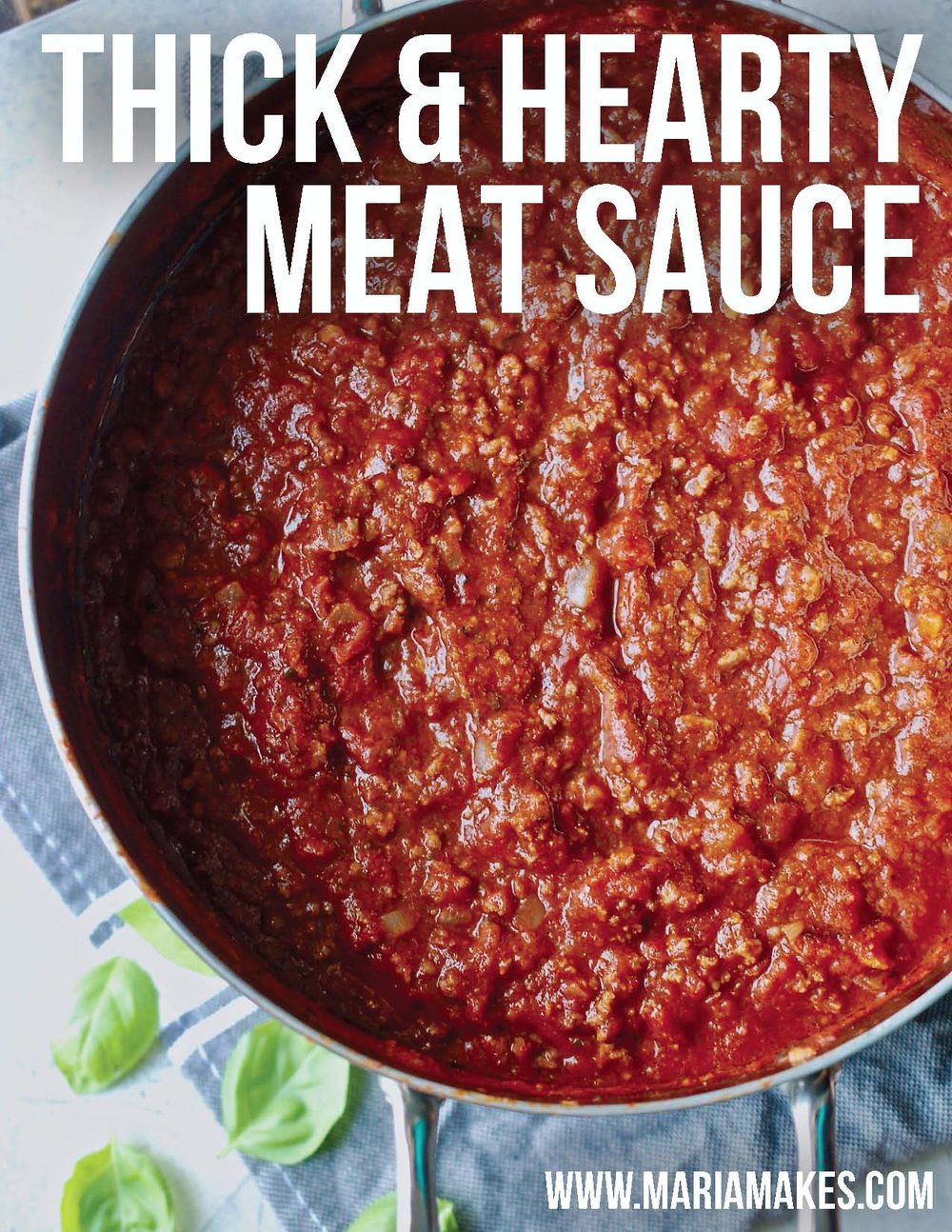 Thick & Hearty Meat Sauce – Maria Makes: No frills, everyday, weeknight-friendly, good 'ol meat sauce. Perfect for spaghetti and zucchini lasagna! #whole30 #paleo