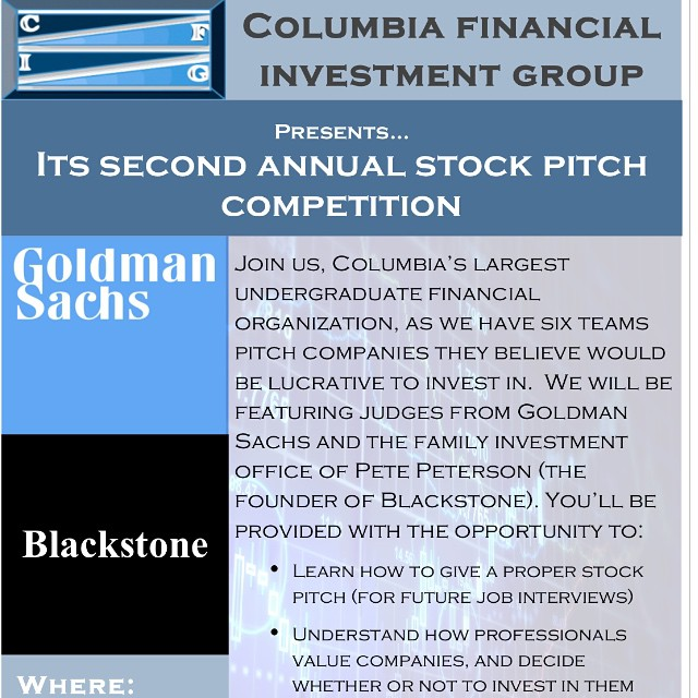 Join us this Sunday for our second annual stock pitch competition in Uris 301!