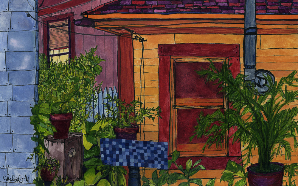 Lady Sanctuary , 2011 gouache and ink on paper 7 x 11""