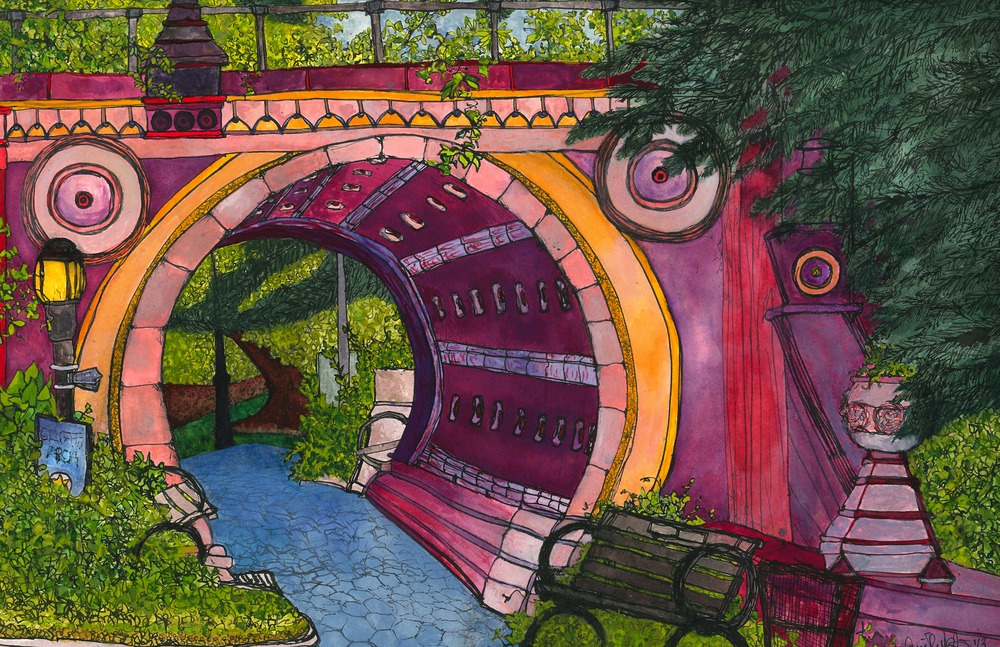 Summer Portal , 2013 gouache and ink on paper 11 x 14""