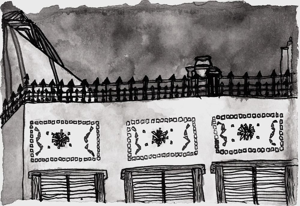 "Grey Corner,  2013 ink on paper 6 x 8"""
