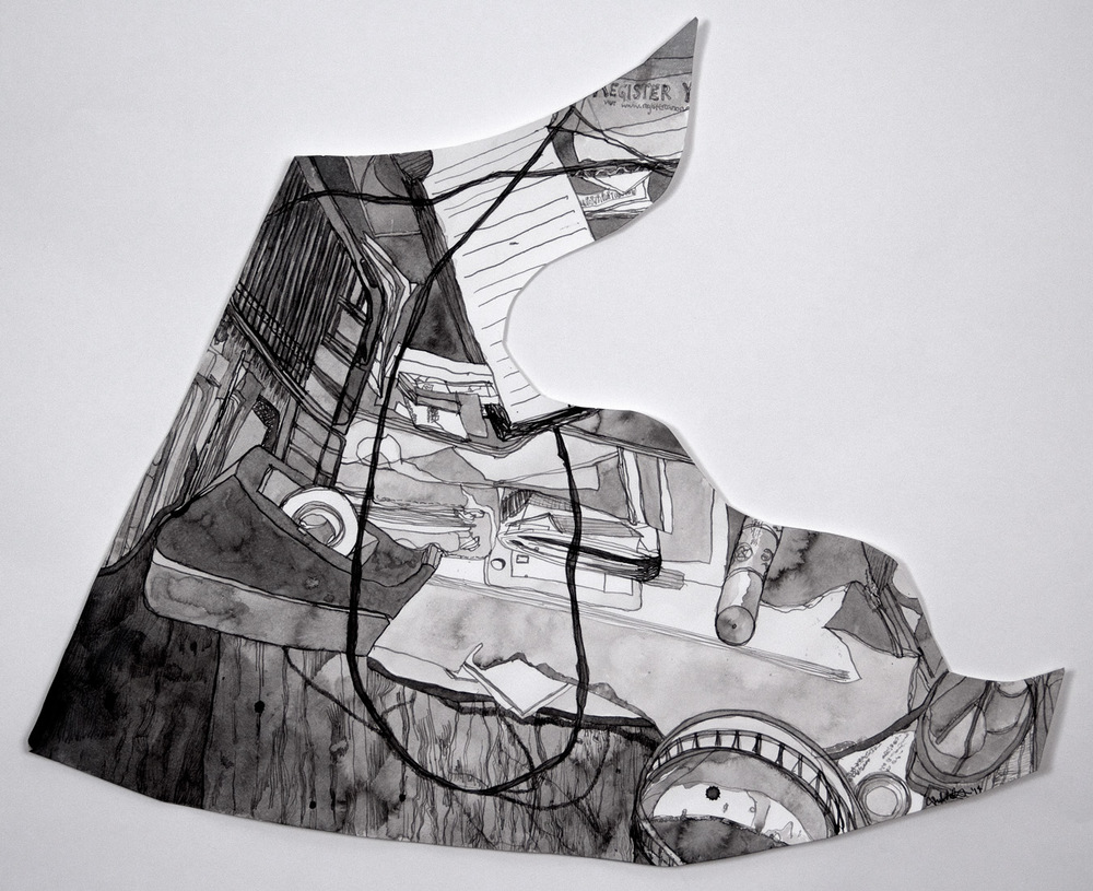 "Desk Detritus , 2014 ink on paper 16 x 20"""
