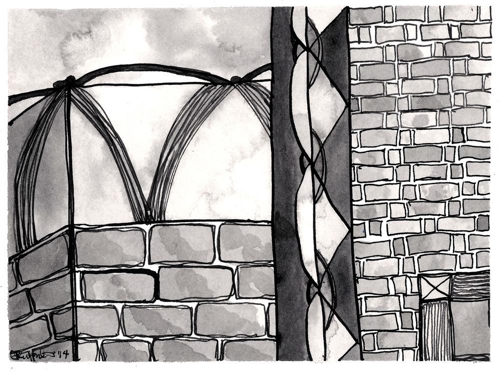 "Segment II , 2014 ink on paper 6 x 8"""