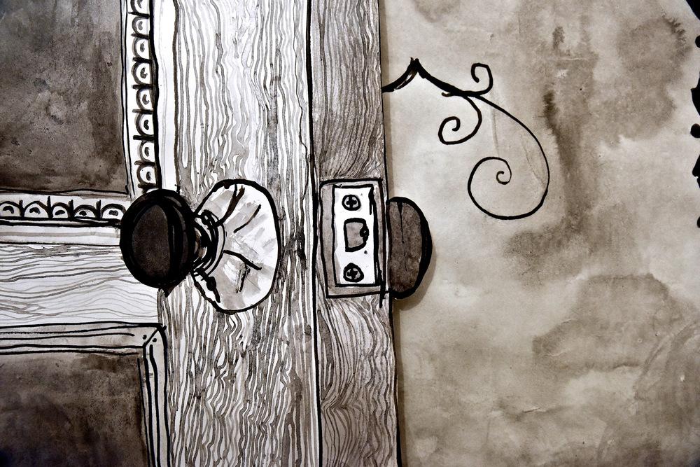 Retrofit , detail. Paper, ink, wire, nails, light bulbs & fixtures, gel medium. 2015.