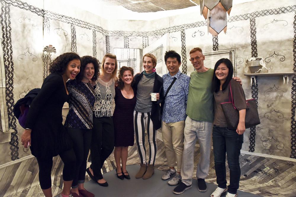 Hunter MFA alumni from l to r, Jodie Lyn-Kee-Chow, Rachael Gorchov, Rhombus Space curator Katerina Lanfranco, Carrie Rubinstein, Monica Carrier, Sung Jin Choi, Curtis Carman, Aya Uekawa.
