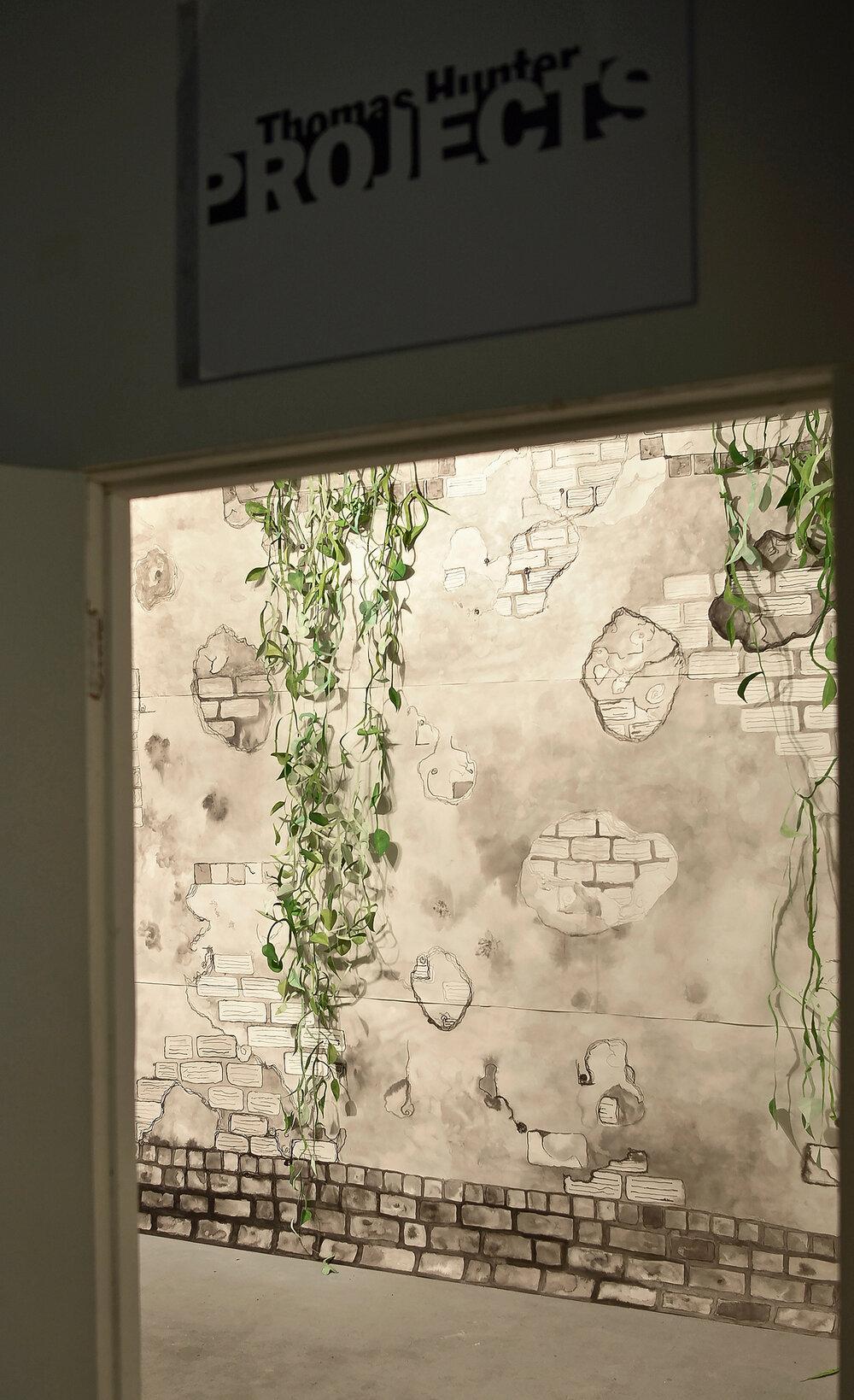 """Found Underground , 2017 paper, ink, gouache &nails 10' x 13' x 5"""""""