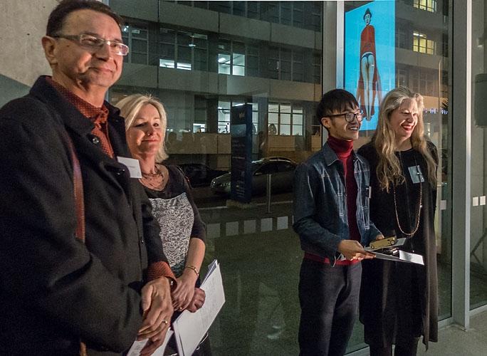 Can Xun  with  Rhana Devenport  (Judge - director Auckland Art Gallery)
