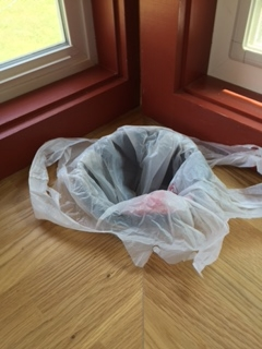 There is a black plastic liner, but I added a plastic bag to make it easier to dispose of the kitchen scraps.