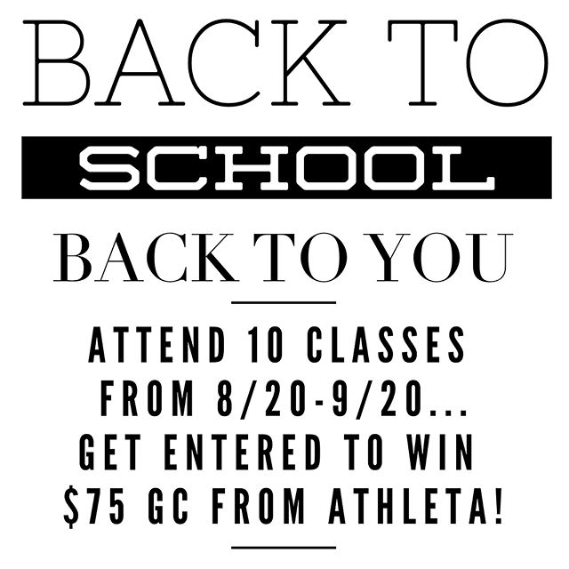 School is back in session so now it is time to carve out time for YOU and we want to help!!! Clients who attend 10 classes over the next month (from 8/20-9/20) will win a prize AND be entered into a drawing to win a 🌟🌟75 GIFT CARD🌟🌟 to athleta!!! Rules: 1️⃣ must attend a class on M-F at any of the following times: 5:45am, 8:15am, 9:30am, 6:30pm or 7:30pm 2️⃣ must get a sticker from the front desk and place on your card  This is all going to coincide with some schedule changes AND 2 back to school specials...for the next week, you can get 🌟🌟50% off 🌟🌟 the 10 class card or the unlimited month! Just enter promo code, SCHOOL  Let's do this!!! #stlouis #stlfitness #brentwoodmo