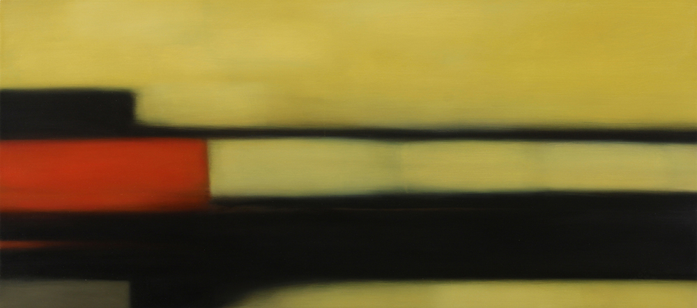 """Built Yellow""  2015, oil on panel,  20"" x 45"""