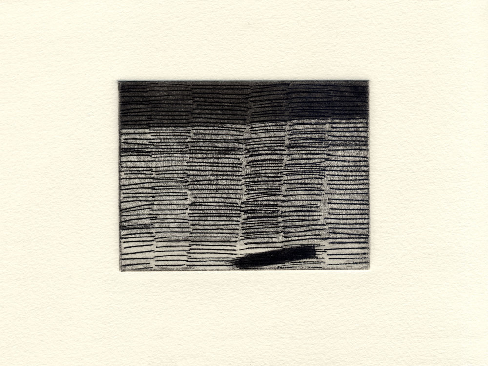 "2016 hard ground, soft ground, aquatint, drypoint 3"" x 4"" (image)"
