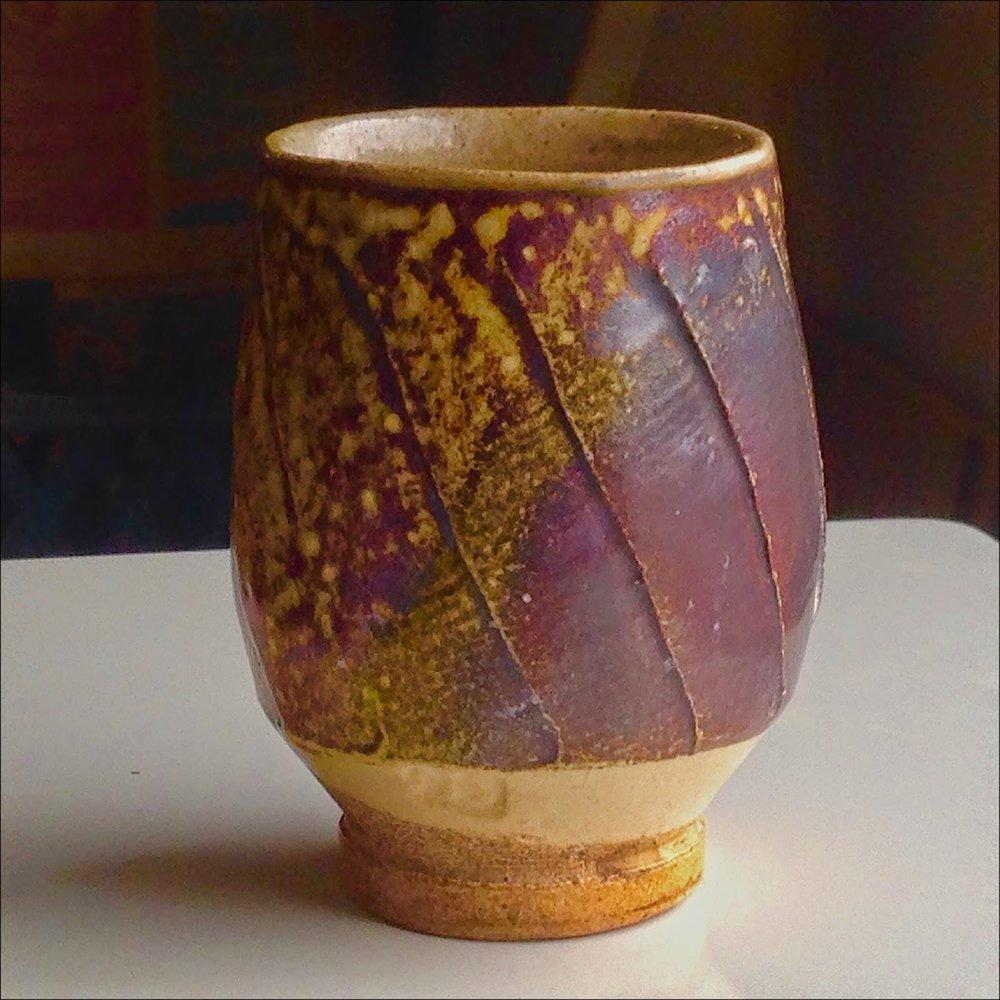 Michael Simon yunomi fluted stoneware salt glaze