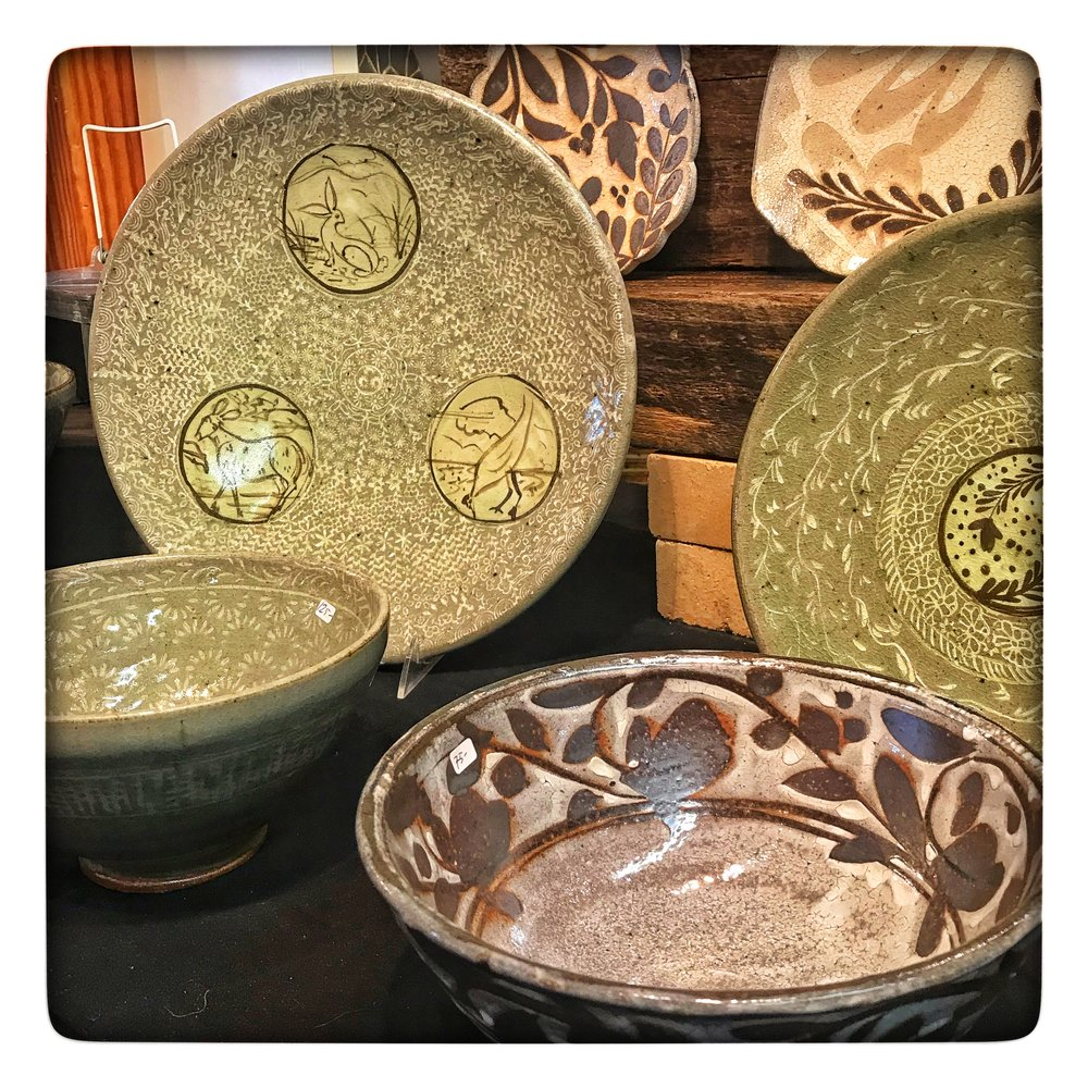 display of pottery at the recent  Spruce Pine Potters Market