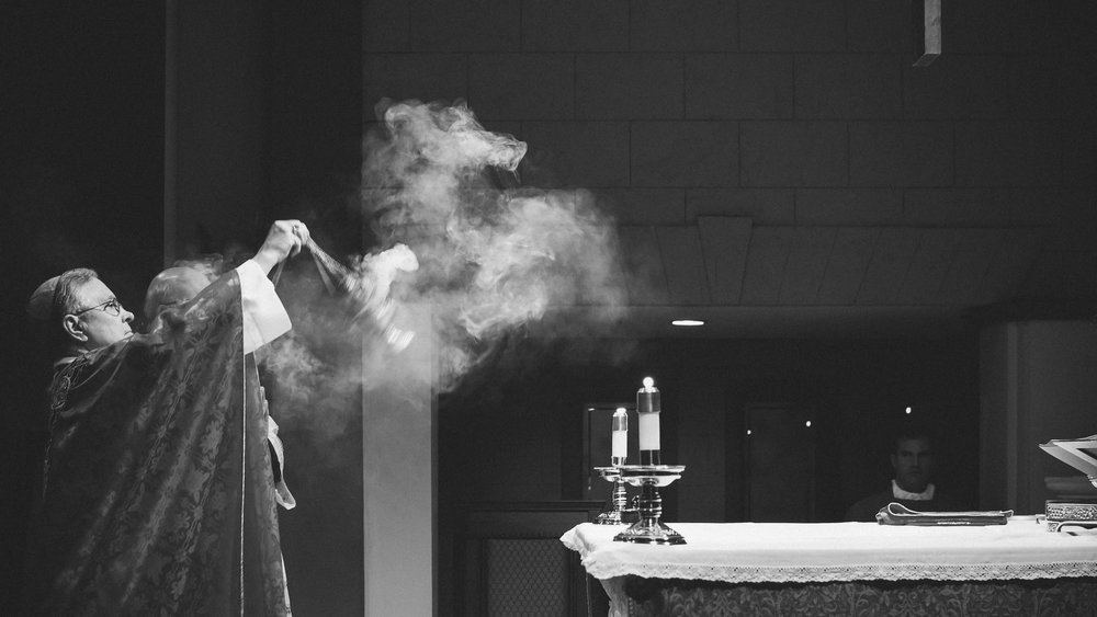 This photo was taken at a confirmation a few years ago at Our Lady of Wisdom Catholic Church in Lafayette, LA. I love how the incense represents our prayers and offerings rising up to God.