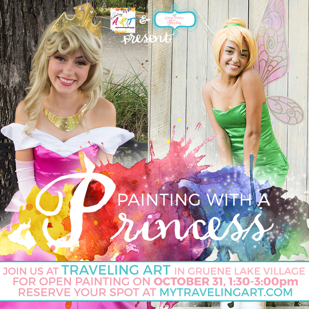 Put on your favorite costume and join us at Traveling Art in Gruene Lake Village for Halloween painting fun with our Sleeping Princess & Tinker Fairy on Saturday, October 31 from 1:30-3pm. There will be open painting during this time for guests to come and go as they are able.  Registration for this event is $10 per painter and will include a special painting project hosted by Traveling Art along with the chance to meet and paint with the Sleeping Princess & Tinker Fairy. Each guest will also receive a special treat from the characters and have a chance to take photos with them.  Ages 2 and up are welcome. Aprons will be available and we will be using Tempera Paint!  This is a rotational painting event which means you may drop in to paint with the characters anytime between 1:30 & 3pm. Limited seating available so please pre-register for your seat.