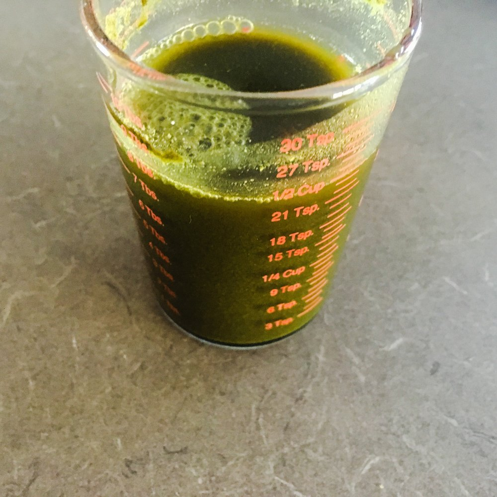 Morning wheatgrass , always tastes like left over lawn clippings.