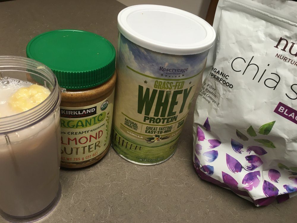 Keeping it clean and simple after jiu jitsu  training. Recovery shake. Almond milk, organic bananas , almond butter, grass fed whey no hormones, chia seeds.