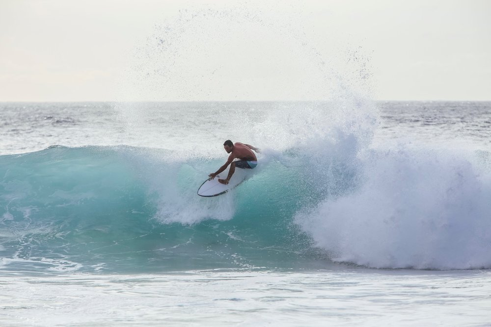 Kapu Ping back from the Big Island testing out a 5'8 prototype.