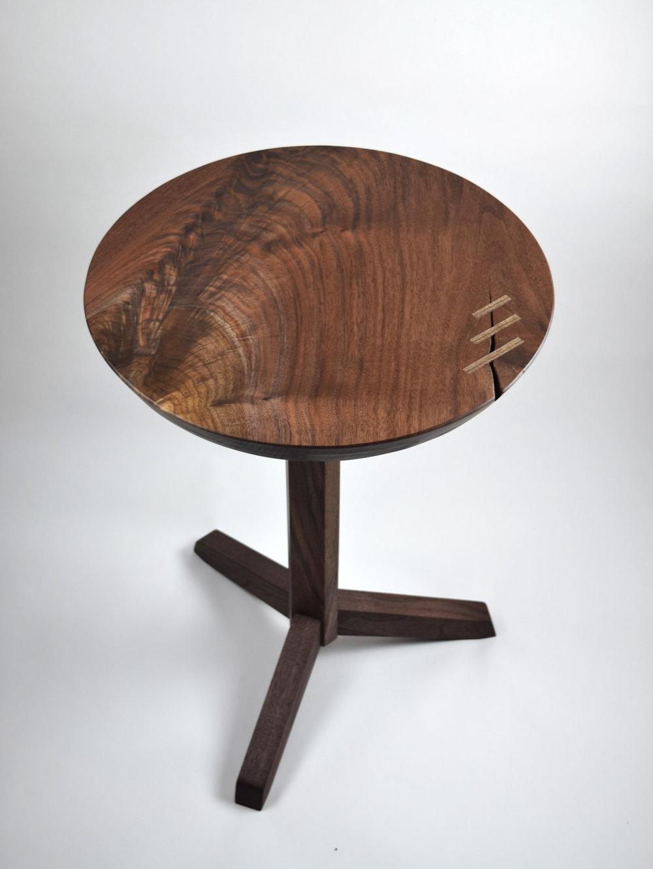 Walnut Pedestal Table    Mid Century Modern Table    Round Black Walnut End  Table    Tripod Base