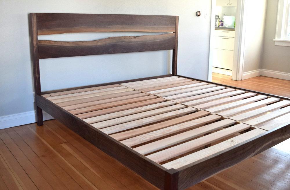 Platform Bed    Modern Live Edge    Oregon Black Walnut    Made To Order